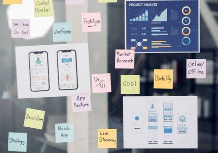 close up ux/ui prototype design and business strategy plan for develop mobile app on clear brainstorming white board in digital design agency company