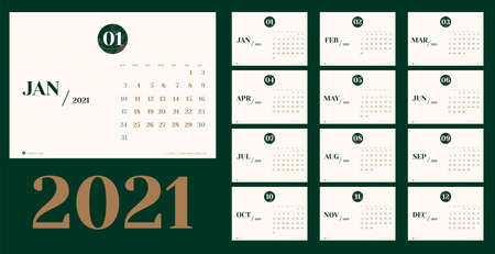 Vector 2021 new year calendar planner template in minimal table simple style with marble month texture number,Holiday event planner,Week Starts Sunday.layout annual calender.timetable for diary Illustration