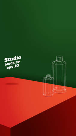 Vector,vertical Empty red and green 3d studio table xmas room background,product display with copy space for display of design.christmas holiday Banner for advertise product on media