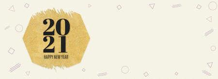 Happy new year 2021 word on gold hexagon glitter on cream modern geometric shape pattern,banner minimal background Holiday greeting card. Stock Photo
