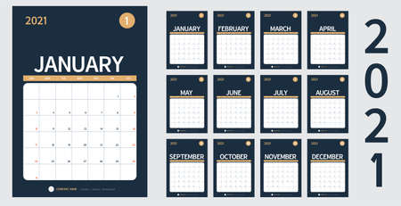 vector Calendar 2021 new year planner set 12 month in clean minimal table simple design style and navy blue color,vertical holiday event template calender,Week Starts Sunday