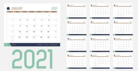 Vector of 2021 new year calendar in modern clean table simple style with blue gold green color,Holiday event planner,Week Starts Sunday.desk calender layout annual calender.timetable for diary