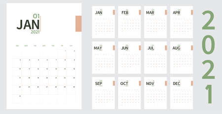 Vector of 2021 new year calendar in minimal table simple style and organic tone green and rose gold color,Holiday event planner,Week Starts Sunday Illustration