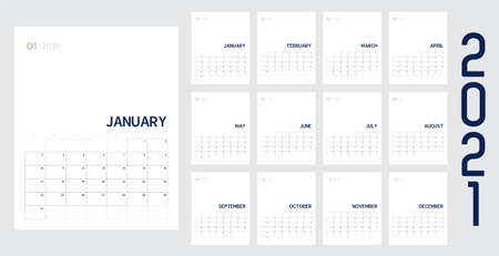 Vector of 2021 new year calendar in modern clean table simple style with blue and peach color,Holiday event planner,Week Starts Sunday.desk calender layout annual calender.timetable for diary