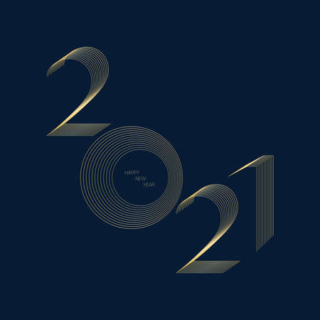 2021 happy new year number in modern line blend style with gold color on navy blue background, holiday greeting card