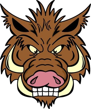 Boos everzwijn met zeer grote slagtanden Stock Illustratie