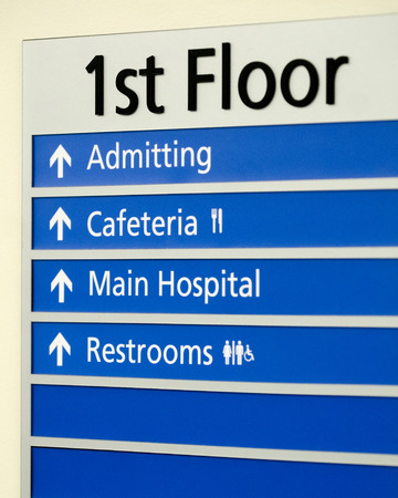 Hospital directory indicating various locations on first floor