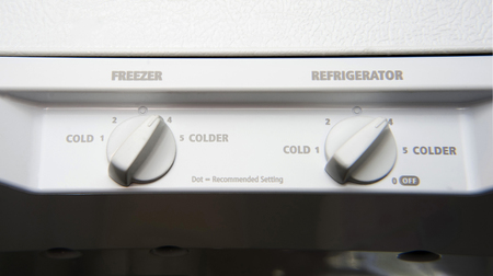 White dual thermostat for freezer and refrigerator