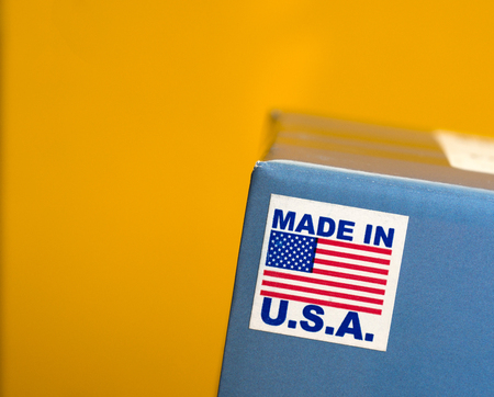Made In U.S.A. Emblem Over Yellow Background
