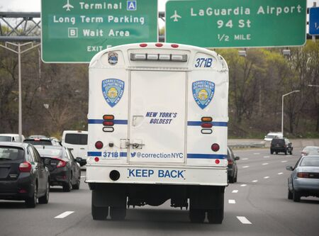 New York City Corrections bus on westbound side of Grand Central Parkway