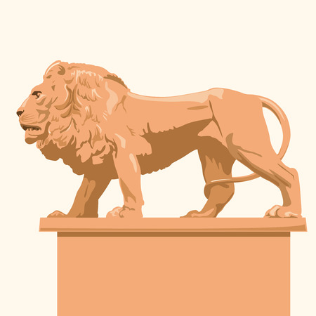 monumental: Big monumental profile lion imposing lord of animals symbol of beauty Ocher kingdom Leo - flatten isolated illustration master.