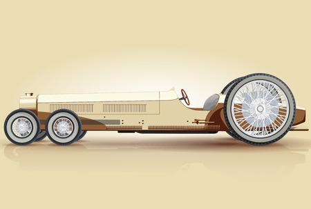 Creamy retro car for long notables Funny fictitious nice limousine sedan - flatten isolated illustration master Ilustração