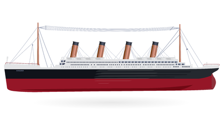 Grote boot legendarische kolossale monumentale boot groot schip symbool pictogram plat geïsoleerde illustratie meester