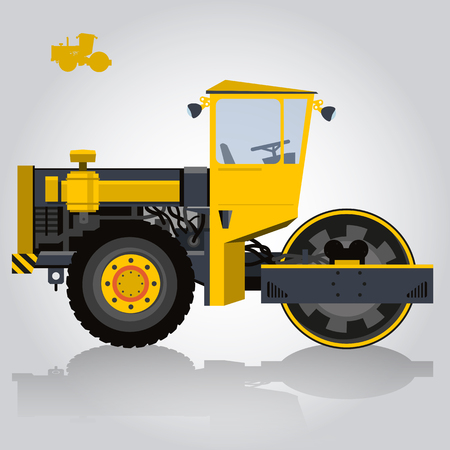 roadwork: Yellow big roller builds roads. Digging of sand, coal, waste rock and gravel. Big golden Steamroller - roadroller. Construction and equipment element. Master flatten vector illustration.