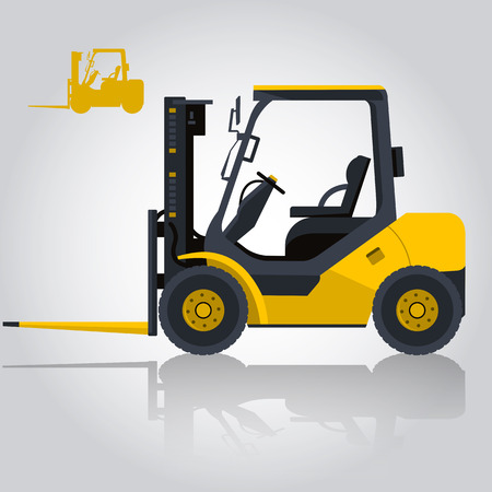 lift and carry: Yellow fork lift loader. Nice isolated vector. Carry of sand, coal, waste rock and gravel. Golden illustration for internet banner or poster icon. Flatten master vector Digger Truck Crane Small Bagger Mix Roller Extravator