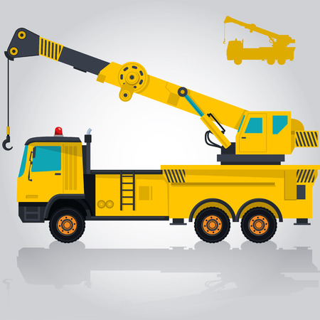 ditch: Big yellow crane with hook and arm. Nice isolated vector. Carry of sand, coal waste rock and gravel. Golden illustration for banner or poster icon. Digger Forklift Truck Crane Bagger Roller Extravator