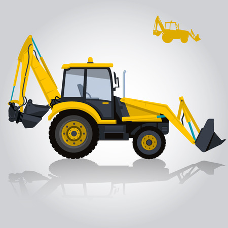 ditch: Big yellow digger builds roads. Digging of sand, coal, waste rock and gravel. Golden illustration for Internet banner, poster or icon. Flatten isolated vector illustration master. Digger Truck Crane Fork lift Small Bagger, Mix Roller Extravator