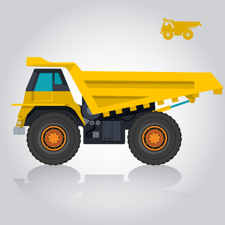 to flatten: Yellow big truck builds roads. Digging of sand, coal, waste rock and gravel. Golden flatten illustration for banner or icon. Construction and equipment element. Master vector. Digger Truck Crane, Small Mix Roller Extravator