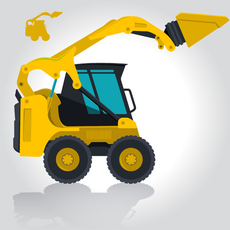 digger: Yellow small digger builds roads, building material loads. Bagger digging of sand coal waste rock and gravel. Golden illustration for banner or icon. Master vector. Digger Crane Small Bagger Mix Roller Extravator Illustration