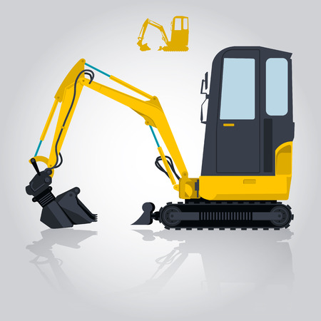 ditch: Yellow small digger builds roads, building material loads. Bagger digging of sand coal waste rock and gravel. Golden illustration for banner or icon. Master vector. Digger Crane Small Bagger Mix Roller Extravator Illustration