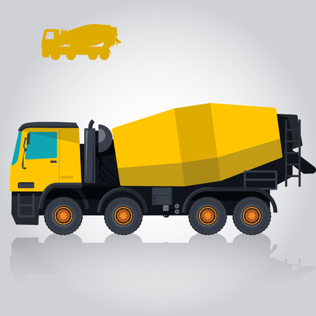 bagger: Yellow concrete mixer. Nice isolated vector. Carry of sand, coal, waste rock and gravel. Golden flatten illustration for banner or icon. Master vector. Truck, Digger, Crane, Forklift, Small Bagger, Mix, Roller, Extravator Illustration