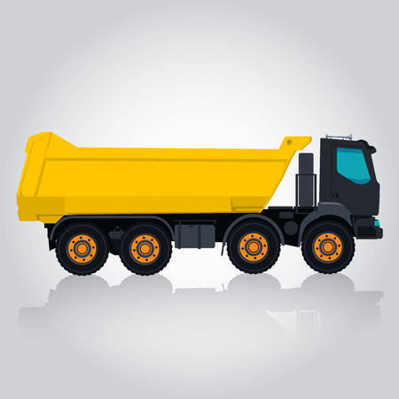 Red and white big truck is taking golden coins. Digging of sand, coal, waste rock and gravel. Golden flatten illustration for banner or icon. Master vector. Construction and equipment element. Digger Truck Crane, Small Mix Roller Extravator