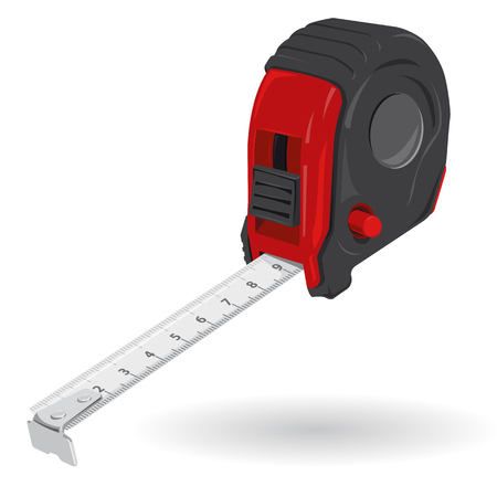 tapeline: Nice classical red tape measure on white - roulette meter red handle black metal head - Construction tools flatten master vector illustration icon