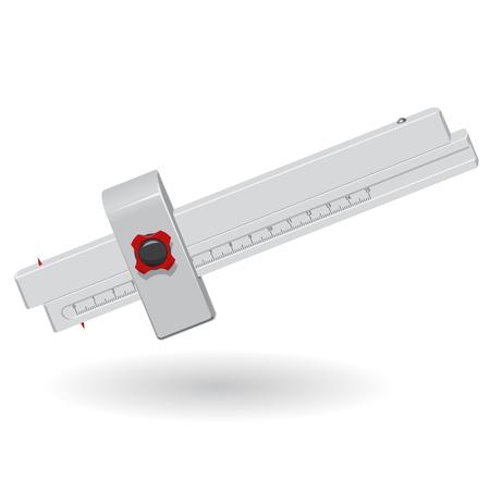 calliper: Nice classical wooden ruler - calliper on white - meter red handle black metal head - Construction tools flatten master vector illustration icon Illustration