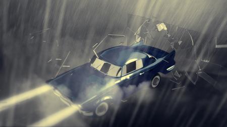 雨の中で青の高速車の速度。Crasch グラス。劇的なノワール状況。アクションと乗って暗いほこりの多い通りの表現力豊かな表現。 写真素材