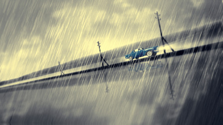 accident traffic accident: Blue fast car speed in rain. Crasch a glass. Dramatic noir situation. Expressive representation of action and ride Darkened dusty street. Stock Photo
