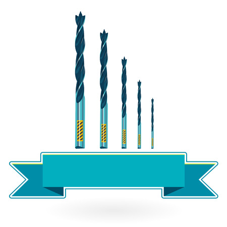 auger: Blue nice classical metal drills on white - Construction tools flatten master vector illustration icon Illustration