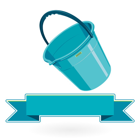 to flatten: Blue nice classical plastic bucket with black handle on white - Construction tools flatten master vector illustration icon