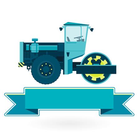 rollover: Blue big roller builds roads. Big golden Steamroller - roadroller. Construction and equipment element. Digging of sand, coal, waste rock and gravel. Master vector Illustration