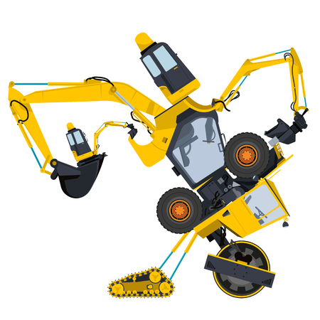 ditch: Bizarre machine robot build from ground works and yellow vehicles Construction Equipment for building Crane Forklift Truck Digger Small Bagger Mix Roller Extravator Transportation - Master vector