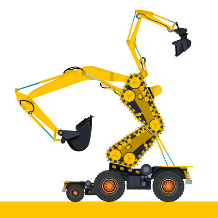 rollover: Bizarre machine robot build from ground works and yellow vehicles Construction Equipment for building Crane Forklift Truck Digger Small Bagger Mix Roller Extravator Transportation - Master vector