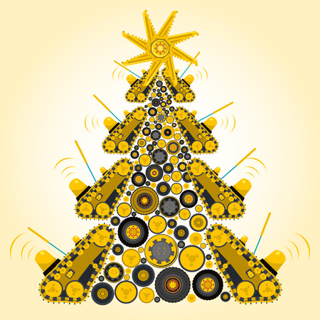 Bizarre machine Christmas tree build from ground works and yellow vehicles Construction Equipment for building Crane Forklift Truck Digger Small Bagger Mix Roller Extravator Transportation - Master vector
