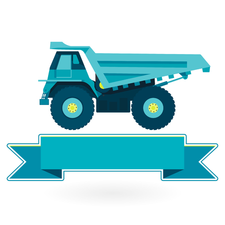 ditch: Blue big truck builds roads. Nice icon - Digging of sand, coal, waste rock and gravel. Golden illustration for banner Construction and equipment element. Digger Truck Crane Small Roller Extravator Illustration