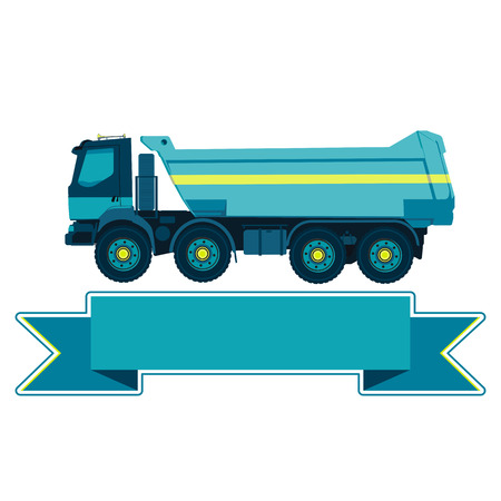 blue roller: Blue big truck builds roads. Nice icon - Digging of sand, coal, waste rock and gravel. Golden illustration for banner Construction and equipment element. Digger Truck Crane Small Roller Extravator Illustration