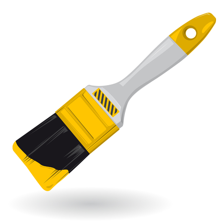 flatten: Nice yellow golden classical brush - Construction tools on white illustration flatten master vector icon
