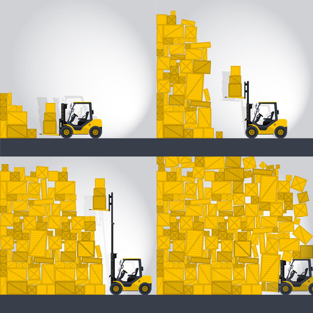 crate: Yellow fork lift loader works in store nice lift loads crate box in warehouse storage comic strip flatten isolated illustration master Illustration