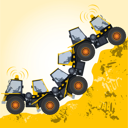 ditch: Bizarre machine robot build from ground works and yellow vehicles Construction Equipment for building Crane Forklift Truck Digger Small Bagger Mix Roller Extravator Transportation