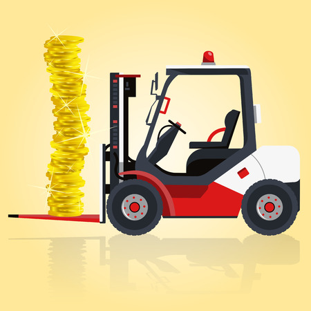 lift and carry: Red and white fork lift loader. Loading of golden coins. Carry of sand, coal, waste rock and gravel. Professional illustration for internet or poster icon. Flatten master Digger Truck Crane Small Bagger Mix Roller Extravator