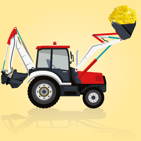 bagger: Red and white big digger builds roads. Digging of golden coins. Professional flatten isolated  illustration master. Digger Truck Crane Fork lift Small Bagger, Mix Roller Extravator