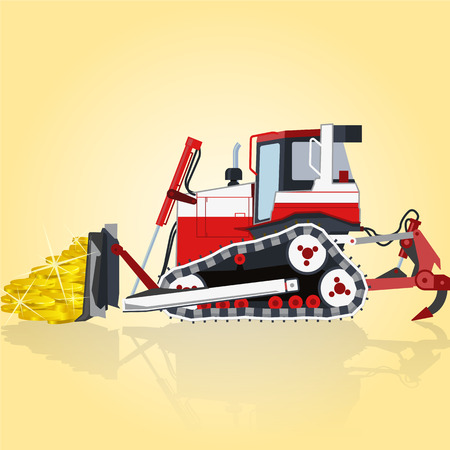 roadwork: Red and white big digger builds roads. Digging of golden coins. Professional flatten isolated illustration . Digger Truck Crane Fork lift Small Bagger, Mix Roller Extravator Illustration