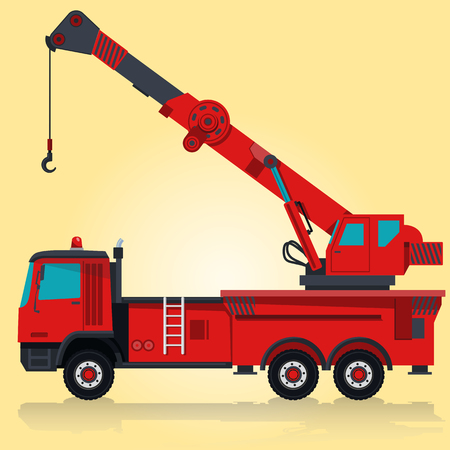 Big red crane with hook and arm. Nice isolated . Carry of sand, coal waste rock and gravel. Golden illustration for poster icon. Digger Forklift Truck Crane Bagger Roller Extravator