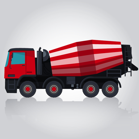 bagger: Red and white concrete mixer. Nice isolated . Carry of sand, coal, waste rock and gravel. Professional flatten illustration for icon.  Truck, Digger, Crane, Forklift, Small Bagger, Mix, Roller, Extravator