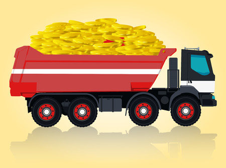 ditch: Red and white big truck Takes golden coins. Digging of sand, coal, waste rock and gravel. Pofessional flatten illustration for icon. Construction and equipment element. Digger Truck Crane, Small Mix Roller Extravator