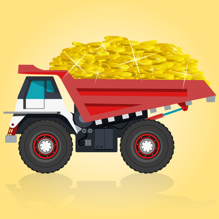 roadwork: Red and white big truck Takes golden coins. Digging of sand, coal, waste rock and gravel. Pofessional flatten illustration for icon. Construction and equipment element. Digger Truck Crane, Small Mix Roller Extravator
