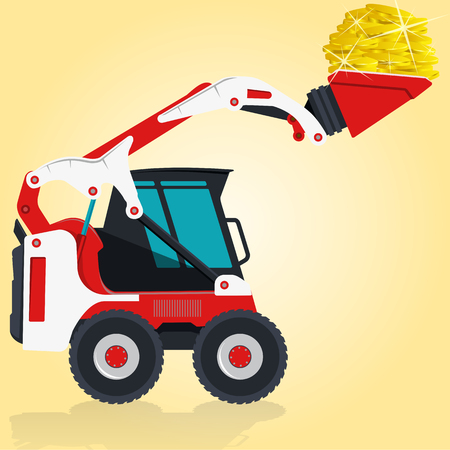 digger: Red and white small digger builds roads, loads golden coins on yellow. Bagger digging of sand coal waste rock and gravel. Professional illustration for  icon. Digger Crane Small Bagger Mix Master Roller Excavator