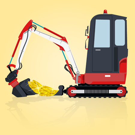 bagger: Red and white small digger builds roads, loads golden coins on yellow. Bagger digging of sand coal waste rock and gravel. Professional illustration for  icon. Digger Crane Small Bagger Mix Master Roller Excavator Illustration